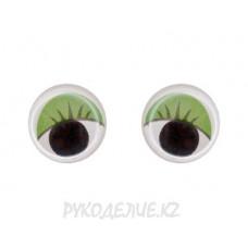 Глазки с ресничками на клеевой основе 10мм