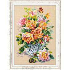 """Набор для вышивания крестом """"Чайные розы"""" 24*34см Чудесная игла"""