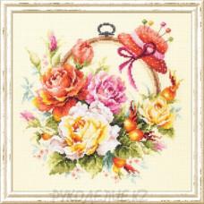 """Набор для вышивания крестом """"Розы для мастерицы"""" 25*25см Чудесная игла"""