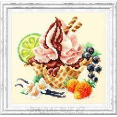 Набор для вышивания крестом Ванильное мороженое 17*17см Чудесная игла