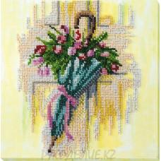 Набор для вышивания бисером Зонтик и тюльпаны 20*20см Абрис Арт