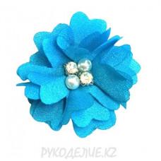 Цветок пришивной шифон со стразами и бусинами d-50мм