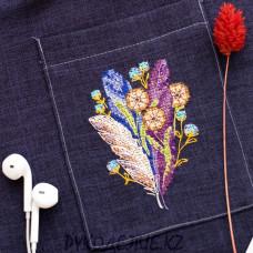 Набор для вышивания крестом на одежде Перышки и одуванчики 7*10см Абрис Арт