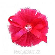 Цветок пришивной фатин с бантом и стразой d-50мм
