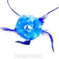 Брошь Цветок роза со стразами d-65мм 12 - Синий