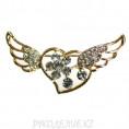 Брошь сердце с крыльями 01 - Золото