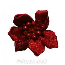 Цветок пришивной атласный с бусинами d-25мм (борд)