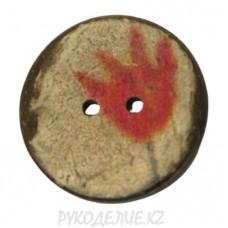 Пуговица деревянная CXPR03 (44L, Красный)