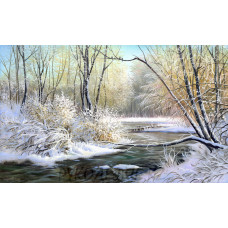 Рисунок на шелке Зимняя река 37*49см Матрёнин Посад