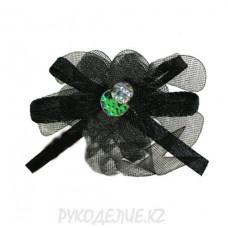 Цветок пришивной капрон с бусиной d-25мм (черн)