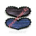 Булавка для постельного белья Сердце в полоску (2шт) 4-21 - Фиолетовый - Синий