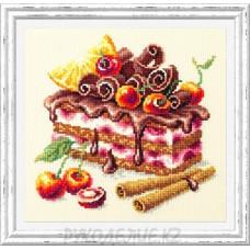 Набор для вышивания крестом Вишневый торт 17*17см Чудесная игла