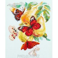Набор для вышивания крестом Бабочки на груше 21*27см Чудесная игла