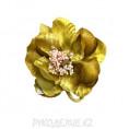 Брошь Цветы с резинкой d-80мм 1 - Светло-золотой