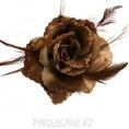 Брошь Цветок d-110мм 15 - Коричневый