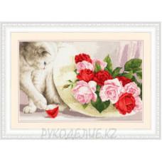 Набор для вышивания крестом Кот и розы 25*38см Золотое Руно