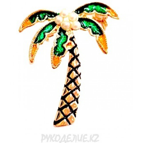 Брошь со стразами пальма