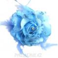 Брошь Цветок со стразами d-120мм 5 - Голубой
