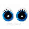 Глаз клеевой овал с ресницами 14x18мм - Синий