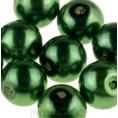 Бусины жемчуг пластиковые 14мм (9 штук) 37 - Тёмно-зелёный