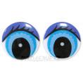 Глаз винтовой круглый с ресницами (1шт) 20мм - Фиолетово-голубой