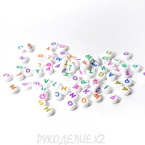 Бусины Алфавит цветные 7*7мм