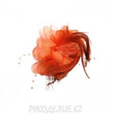 Брошь Цветок Пион с перьями d-85мм