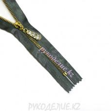 Молния металлическая декоративная на атласе №4,5 (20см, Золото) Angelica Fashion