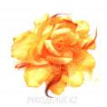 Брошь Цветок роза с резинкой d=190мм 10 - Оранжевый