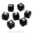 Бусины стекло граненое Кубик 4*4мм 04 - Чёрный