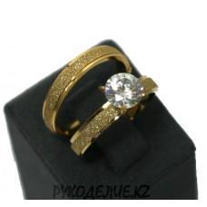Кольцо двойное с камнем (122)