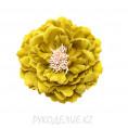 Брошь Цветок пион d=120мм 67 - Горчичный