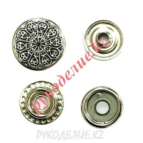 Кнопка кольцевая для одежды установочная с узором