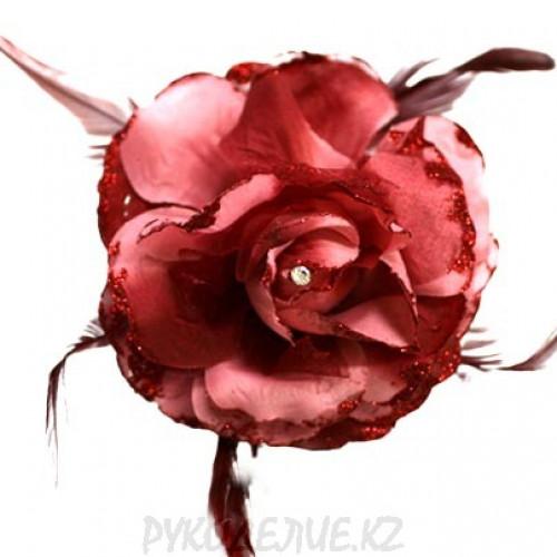 Брошь Цветок со стразами d-120мм (св борд)