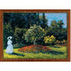 Набор для вышивания крестом Дама в саду (по мотивам картины К.Моне) 40*30см Риолис