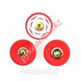 Кнопка пришивная металлическая MS K-64 27мм, 4 - Gold/Red (Золотой - Красный)