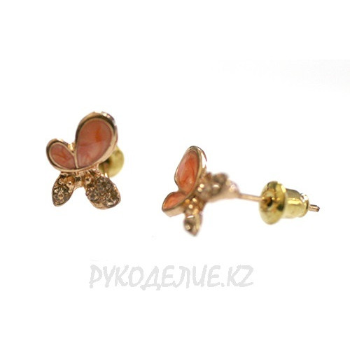 Серьги бабочка со стразами (mix)