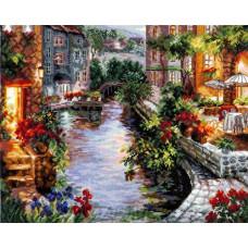 Набор для вышивания крестом Вечер в Венеции 40*32см Чудесная игла