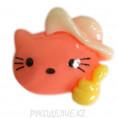 Клеевая фигурка котенок в шляпе 41 - Коралловый