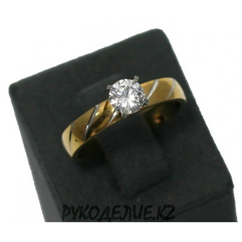 Кольцо с узором и камнем (115)