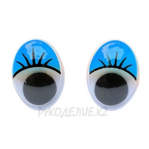 Глаз клеевой овал с бегающим зрачком+ресницы 12*16мм
