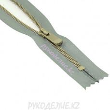 Молния металл золото №5 атлас неразъемная (20см, Светло-серый) YKK