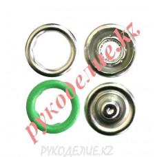 Кнопка установочная рубашечная металлическая (d-9мм, Салатовый)