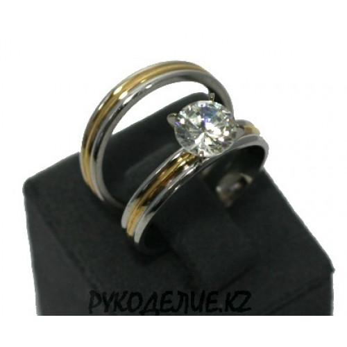 Кольцо двойное с камнем (125)