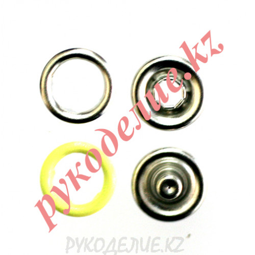 Кнопка установочная рубашечная металлическая (d-9мм, Светло-желтый)