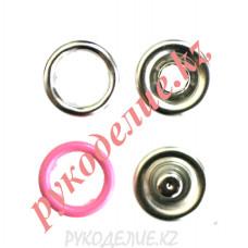 Кнопка установочная рубашечная металлическая (d-9мм, Розовый)