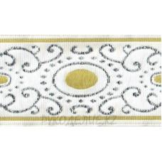 Тесьма вышитая с люрексом (1 - Белый-салат)