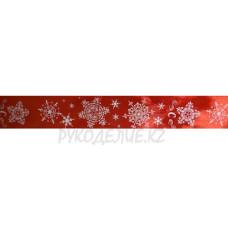 Лента подарочная атласная Снежинки 2,5см, 4см